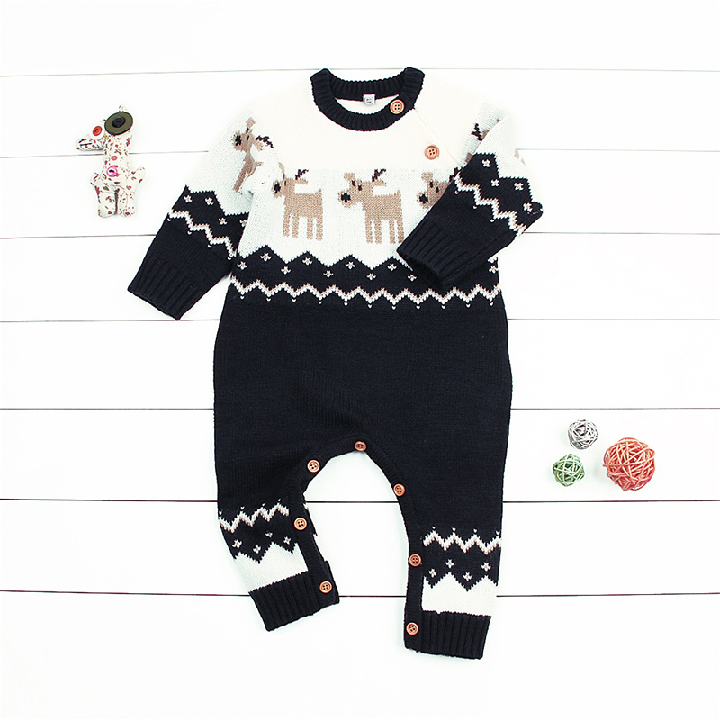 Winter Christmas Baby Girls Rompers Knitted Funny Onesie Animal Reindeer Toddler Boys Jumpsuits New Years Newborn Costume