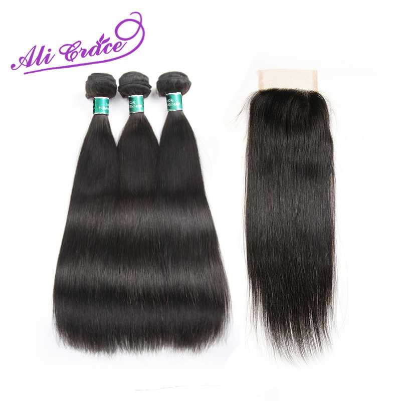 Ali Grace Peruvian Straight Hair 3 Bundles With Lace Closure Remy Hair With 4*4 Closure Free/Middle Part Natural Hair Extensions