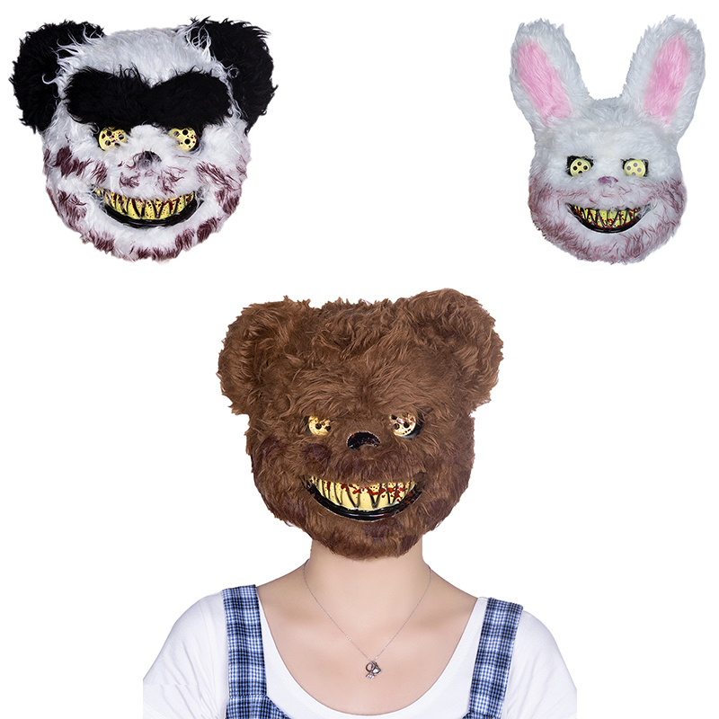 Scary Teddy Bear Mask Adult Evil Psycho Halloween Costume Fancy Dress