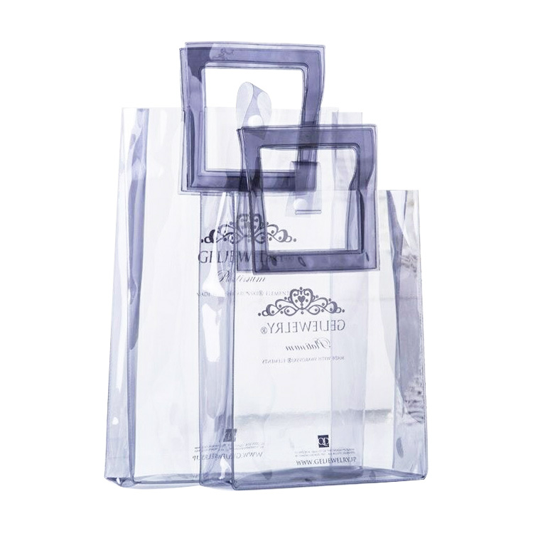 Personalized Clear PVC Shopping Totes Bags With Square Handles Available For Custom