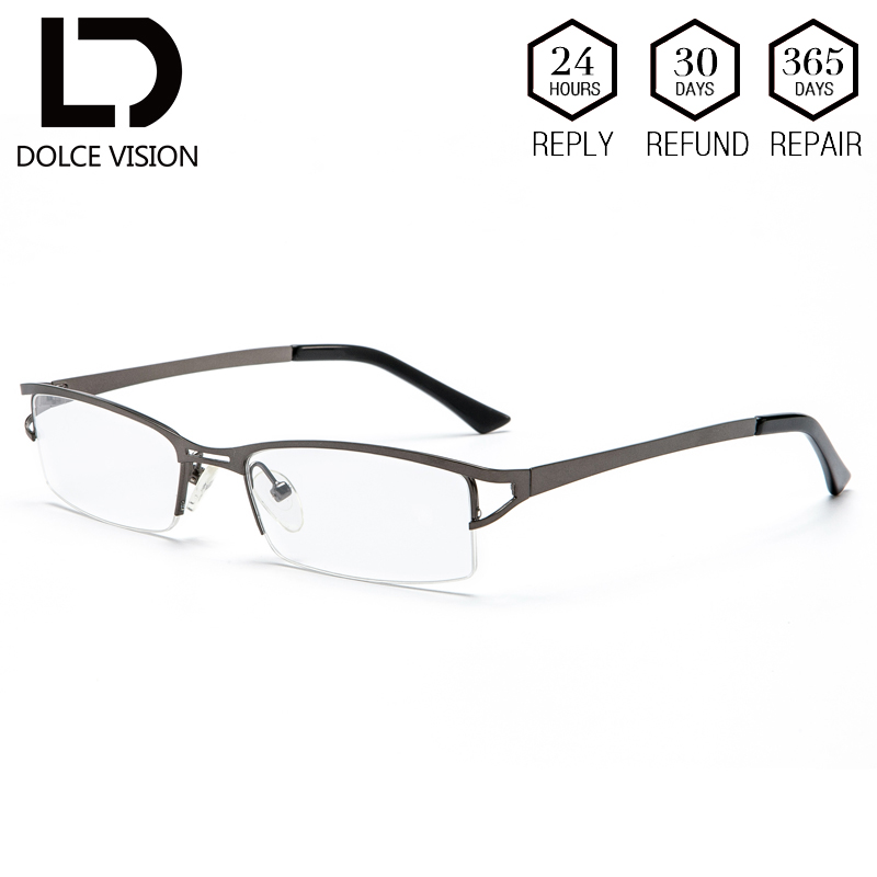 5e38146b78 DOLCE VISION Half Frame Graduated Glasses Men Prescription Clear Lens  Classic Corrective Business Glasses Male High Quality New