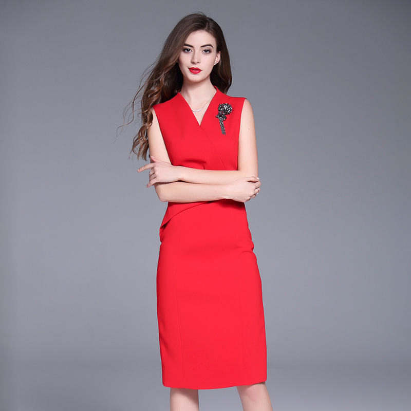 Image 2 - red dresses for woman 2018 new high quality spring summer Vintage