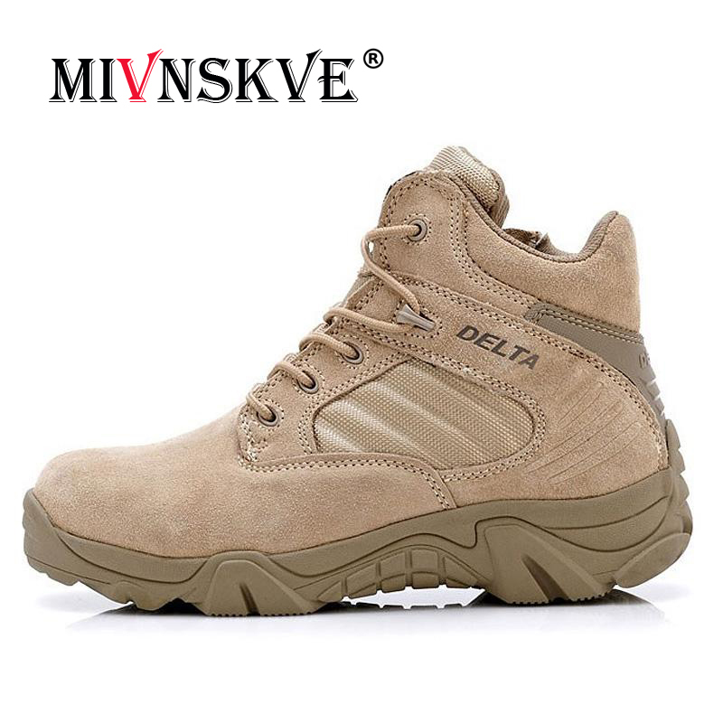 MIVNSKVE High Quality Autumn/winter Military Tactical Boots Round Toe Men Desert Combat Boot Outdoor Men Leather Army Ankle Boot