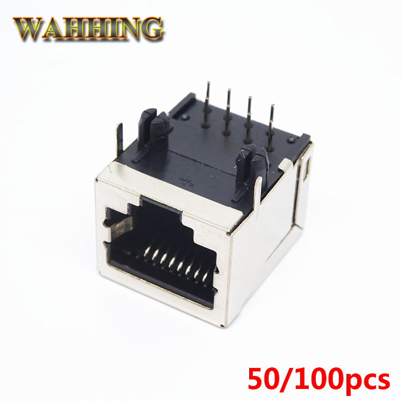 50pcs RJ45 8Pin Adapter Connector Cable Network Ethernet Cable 8P8C RJ45 Plug Adapter Socket PCB Board Connector HY506
