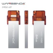 2pcs/1Lot Wansenda OTG mini Metal USB Flash Drives 16GB 32GB 64GB High Speed Pendrives for iPhone/PC/IOS system USB 2.0 U stick