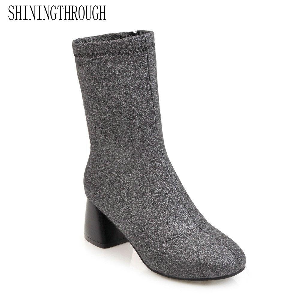 SHININGTHROUGH Sexy High Heels Ankle Boots Woman Autumn Winter  Fashion round Toe Thin Heels Short Boots Women