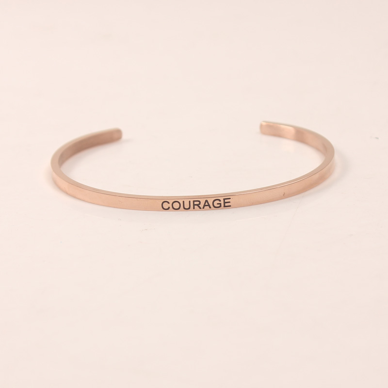 316L Stainless Steel Engraved COURAGE Positive Inspirational Quote Cuff Mantra Bracelet Bangle For Women Best Gift in Bangles from Jewelry Accessories