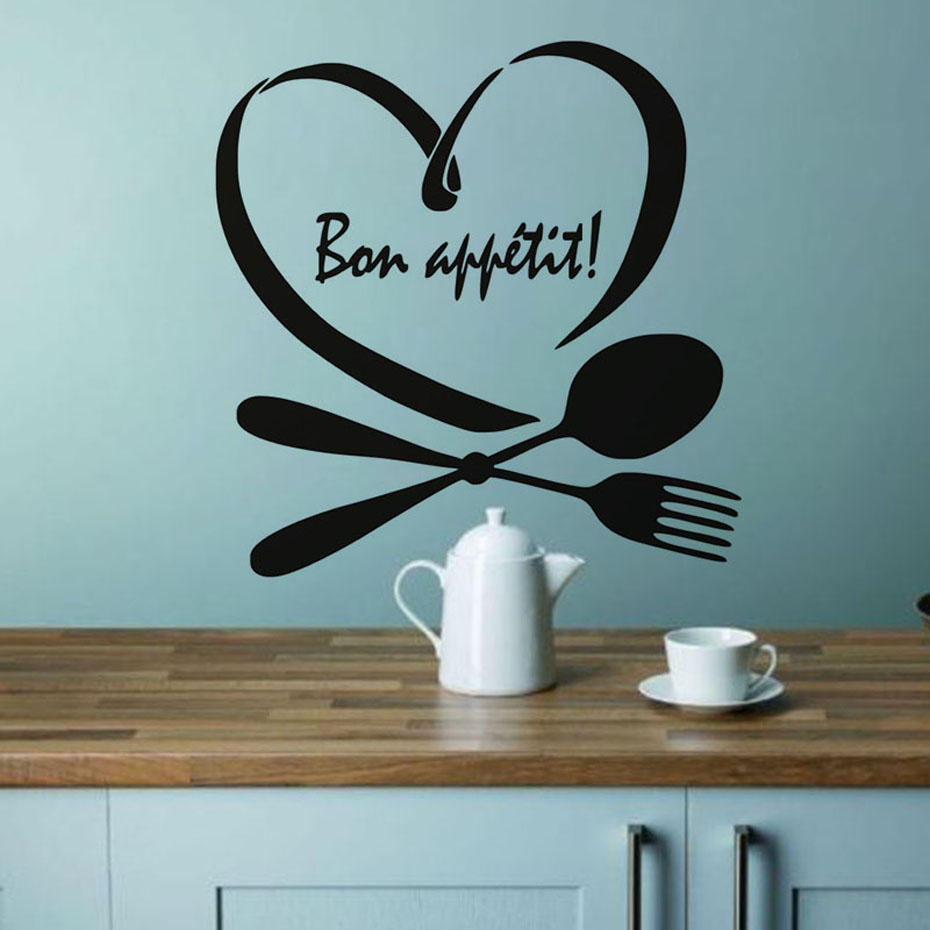 Phrase Words Bon Appetit Wall Sticker For Kitchen Wall Decor Spoon Folk Heart Vinyl Wall Decals Dining Room Home Decoration in Wall Stickers from Home Garden