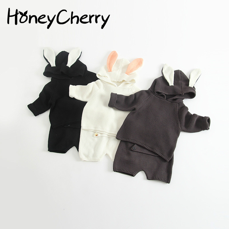2017, Autumn And Winter Rabbit Ears Cute Hooded Shorts Baby Korean Edition Suit Baby Girl Clothes Kids Clothes