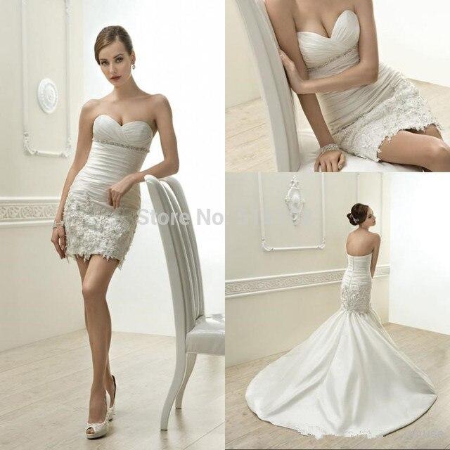 corto vestidos de novia de novia sin mangas desmontable con un tren