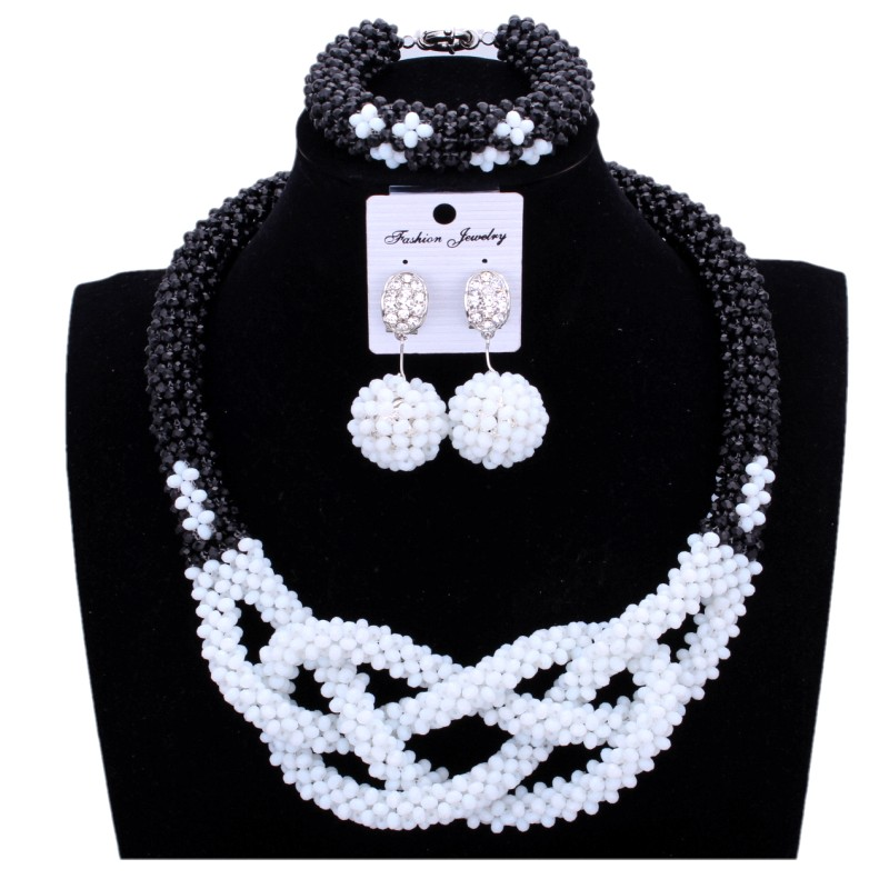 African Beads Jewelry Set Black White Cross Dubai Jewelry Set 2018 Wedding Indian Fashion Jewelry Bridal Necklace Set For Women oysters indian v black white