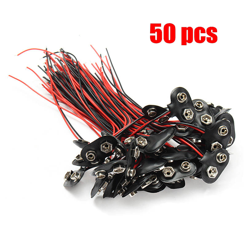 HOT 50Pcs 145mm 9V Battery Connector Snap Clip T Style Cable Wire Lead Holder Adapter Connectors TerminalsHOT 50Pcs 145mm 9V Battery Connector Snap Clip T Style Cable Wire Lead Holder Adapter Connectors Terminals