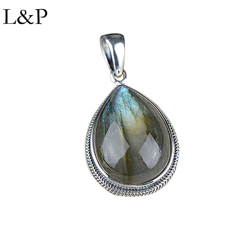 L&P Luxury Vintage Nepal Labradorite Pendant For Lady Authentic 925 Sterling Silver Gemstone Pendant Anniversary Gift Jewelry