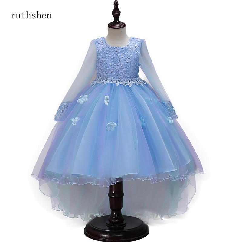 ruthshen Long Sleeve   Flower     Girl     Dress   Transparent Venice Lace Pageant   Dresses   For Little   Girls   Sky Blue / Pink   Girls   Ball Gown