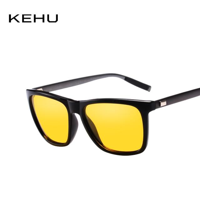 KEHU Baru Night Vision Polarized Sunglasses Pria Merek Designer Vintage  Terpolarisasi Kacamata Polaroid lensa Persegi Mode 3a00fb722a