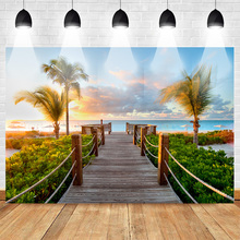 Neoback Summer Holiday Backdrop for Photography Sea Beach Background Plam Tree Sunset Glow Wedding Backdrops Photo Studio