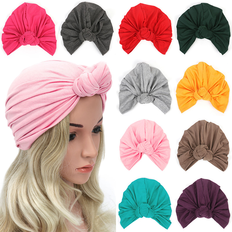 Cotton Turban Hat Muslim headscarf For Women Lady Wide Big Bow Knotted Headbands Winter Bandanas Hair Accessories headscarf band in Women 39 s Skullies amp Beanies from Apparel Accessories