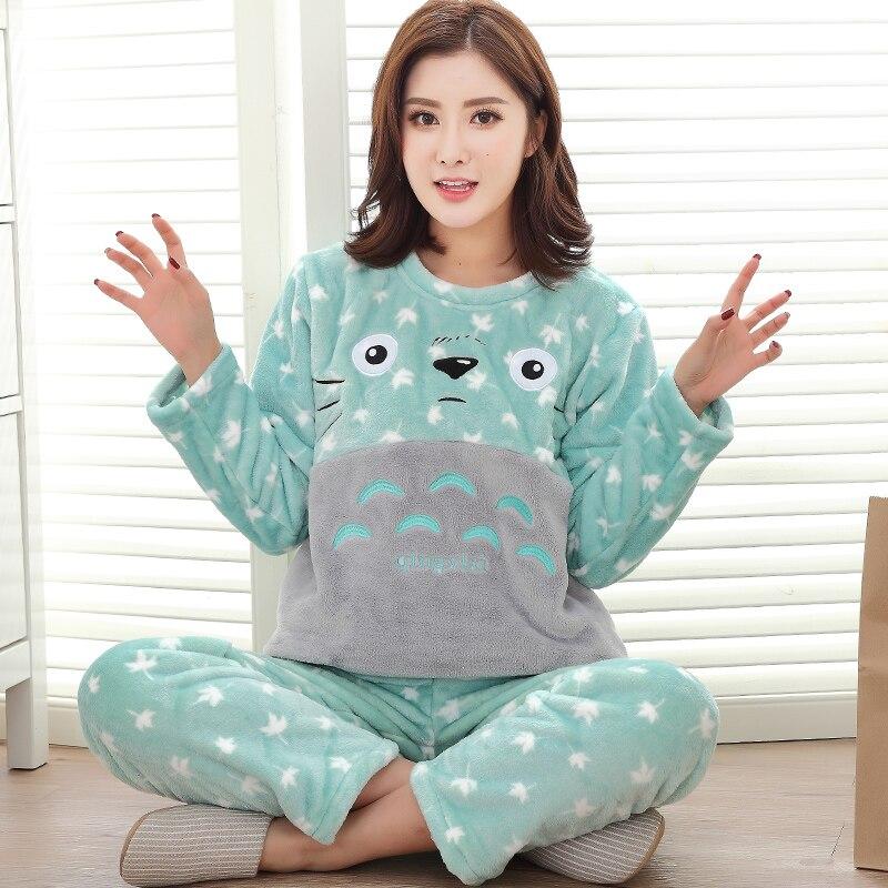 Winter Warm Flannel Womens Pajamas Set Coral Fleece Totoro Cartoon Sleepwear Men Pyjamas Mujer Lady Casual 3XL Home Clothing