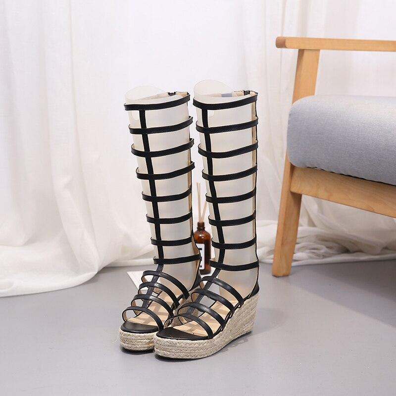 Hang Stroh Sommer Spitze Schuhe Dünne Rohr Neue Stiefel Beige Sandale Lange Offene Und 2019 Frauen schwarzes Römischen Weibliche Seil Kühle xzgFqB0wCn