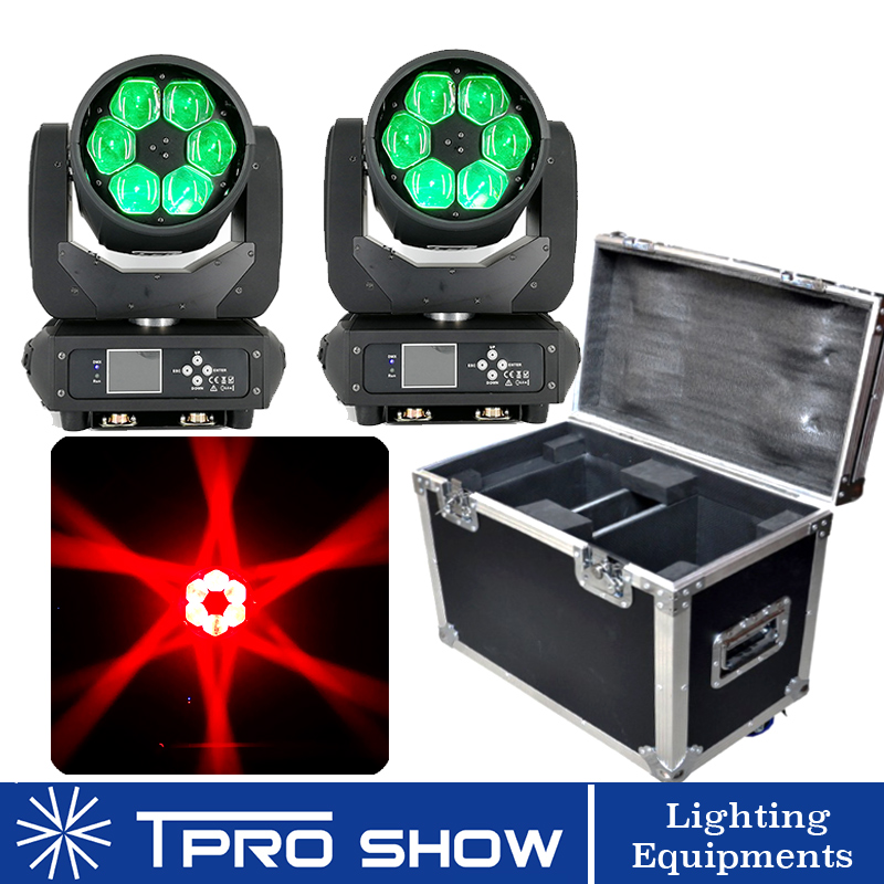 2 MovingHead 1 Flight Case 6x40W Beam Moving Head RGBW LED Lyre Zoom Wash Bee Eye