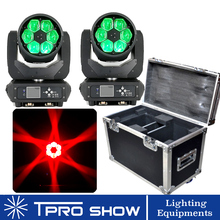 2 MovingHead 1 Flight Case 6x40W Beam Moving Head RGBW LED Lyre Zoom Wash Bee Eye Lighting Effect DJ Club Lighting Kits Dmx512