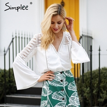 Simplee Chiffon hollow out blouse shirt Women flare sleeve summer style white blouse Casual lace blouse tops tees blusas 2018