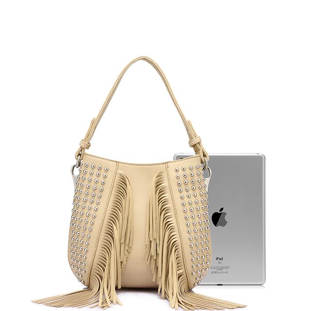 LOVEVOOK brand fashion tassel shoulder bag vintage handbags high quality rivet messenger bags for women 2019 high quality