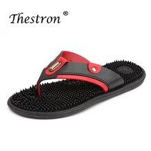 Handmade Men Beach Shoes Black Blue Soft Slippers Man Summer Flip Flops Fashion Massage shoes
