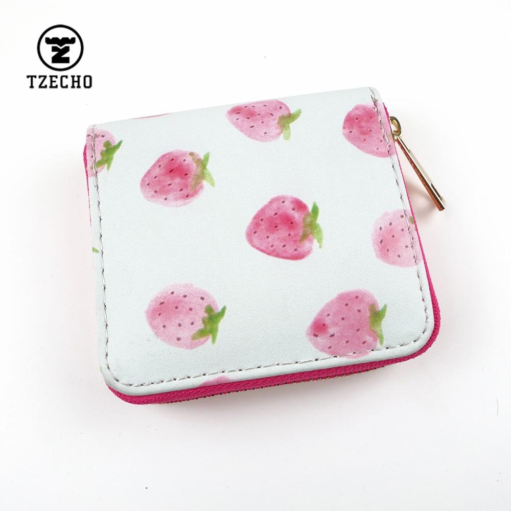 TZECHO Zipper Around Womens Wallets Leather Print Strawberry Girls Short Money Purses Mini Coin Pocket Small Card Holder Bag