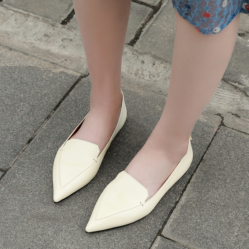 VALLU 2019 Women Summer Flat Shoes Pointed Toes Casual Lady Cow Leather