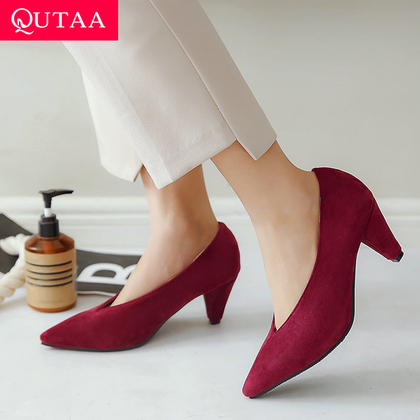 QUTAA 2020 Women Pumps Flock Mules Pointed Toe Fashion Women Shoes Spike Heel Red Wine Spring/autumn Ladies Pumps Size 34-43