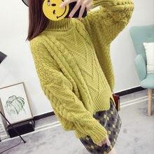 Cuello torcido grueso suéter mujeres Pullover amarillo punto 2018 Otoño  Invierno sólido caliente suéteres ropa de moda femenina 520bac793565