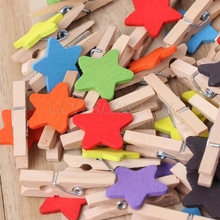 Colored Mini Wooden Clips Card Photo Paper Peg Pin Clothespin 50Pcs