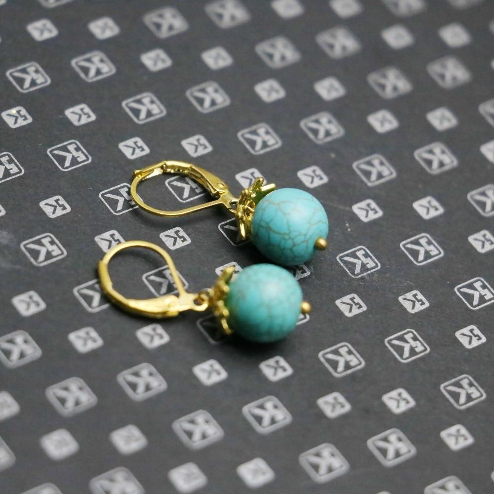 10mm Accessory Retro Style Blue Chalcedony Stone Goldcolor Earrings Gifts  Women Girls Ladies Earbob Eardrop Jewelry Balls