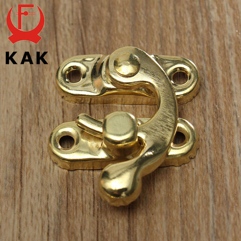 KAK โลหะโบราณล็อค Mini ตกแต่ง Hasps Hook สำหรับของขวัญกล่องเครื่องประดับไม้กุญแจสกรู ZAKKA กล่องฮาร์ดแวร์บ้าน decor