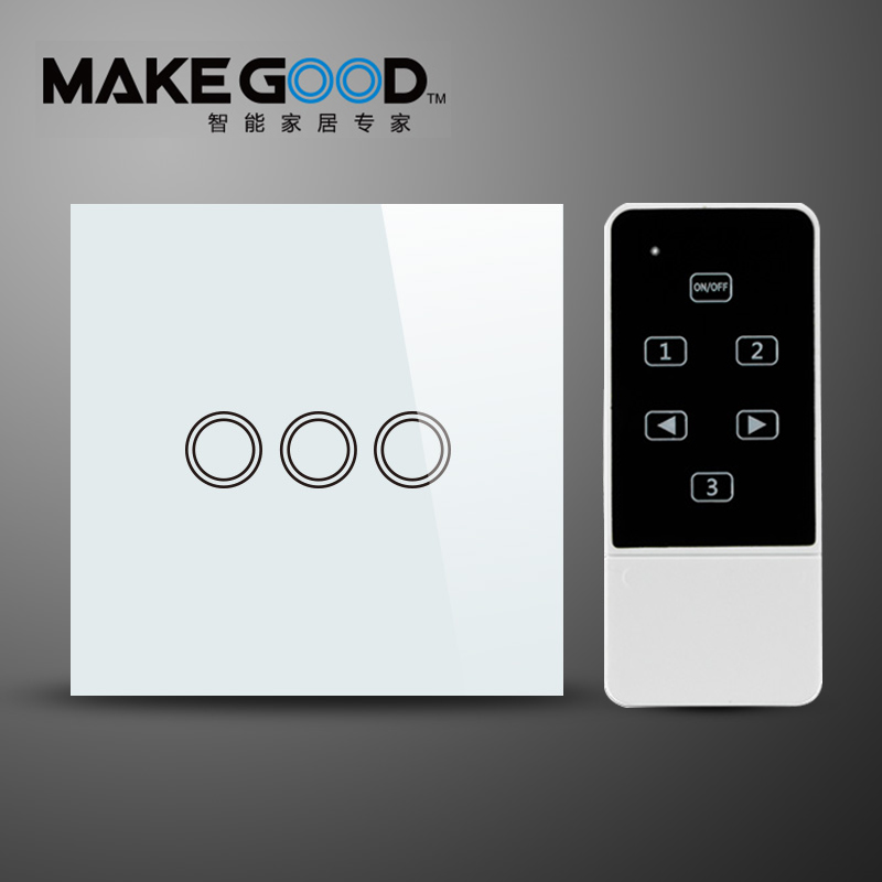 MakeGood Remote control switch 3Gang 2 Way, Crystal Panel Switches Glass, Fireproof and Durable, Wall Light Touch SwitchAC110V~ funry us 3 gang 1 way intelligent wireless phone remote control switch crystal glass panel fireproof smart touch light switch
