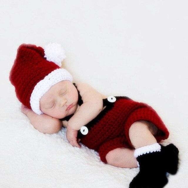 Navidad recién nacido fotografía traje atrezzo ganchillo rojo ropa ...