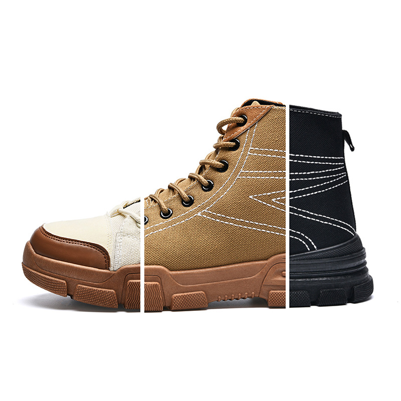 EXCARGO Retro Martin Boots Men's Shoes Autumn High Top Canvas Boots For Men 2019 New Quality Flat Male Ankle Boots Shoe Black