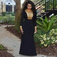 Sexy Arabic Mermaid Evening Dresses Long Sleeve Black and Gold Beaded Moroccan Kaftan Islamic Abaya Muslim Prom Dress Vestidos