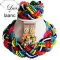 Handmade Ladies Crystal Necklace Bracelet Earrings Nigerian African Wedding Beads Bridal Jewelry Sets ALS008