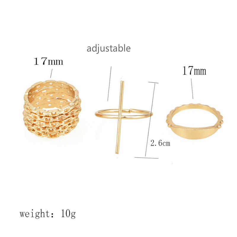 Fashion Jewellery Personality Gift New Women's Ring Combination Set Wholesale Adjustable Engagement Ring Anillos