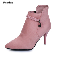 Fashion 2016 Womens Pump Shoes Ladies Ankle Boots Prom High Heels Autumn Female Wedding Shoes Office
