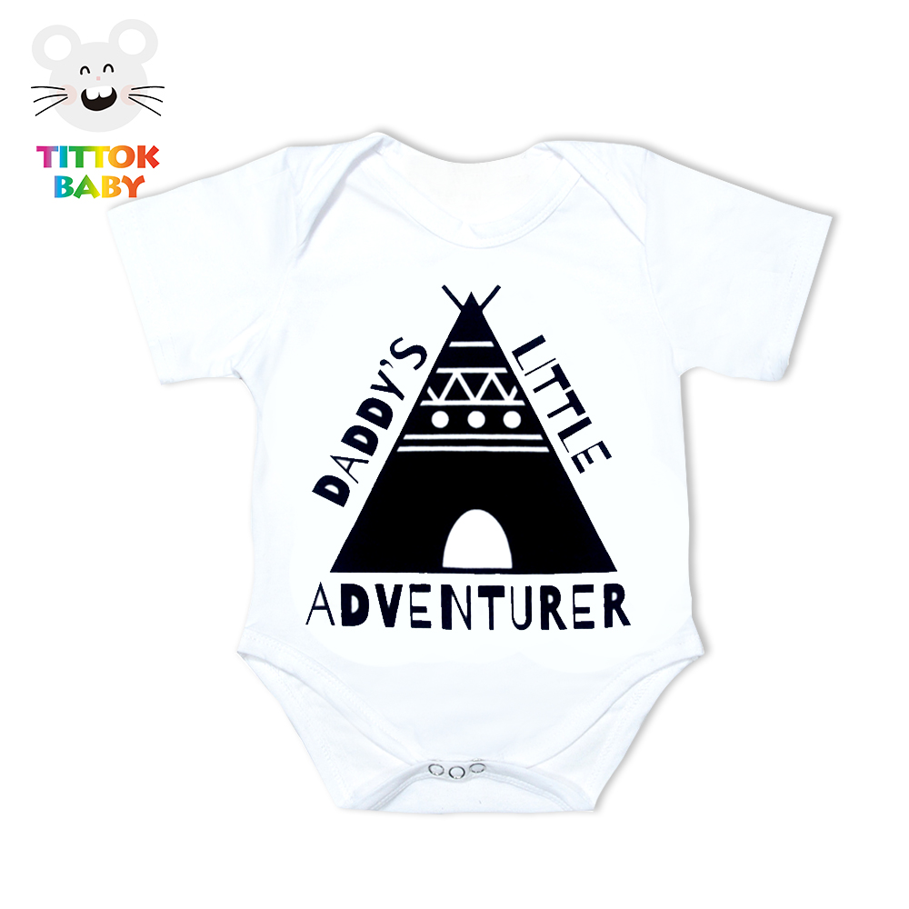 Funny Newborn Infant Clothes Daddy Little Adventurer Print White Short Sleeves Tiny Cottons Baby Bodysuits Baby Onesie 0-18M New