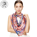 PTAH Square Oversized Print Floral Pattern Muffler For Women Luxury Brand Silk Scarf Hijab Chinese Style Shawl Scarves 4PT501