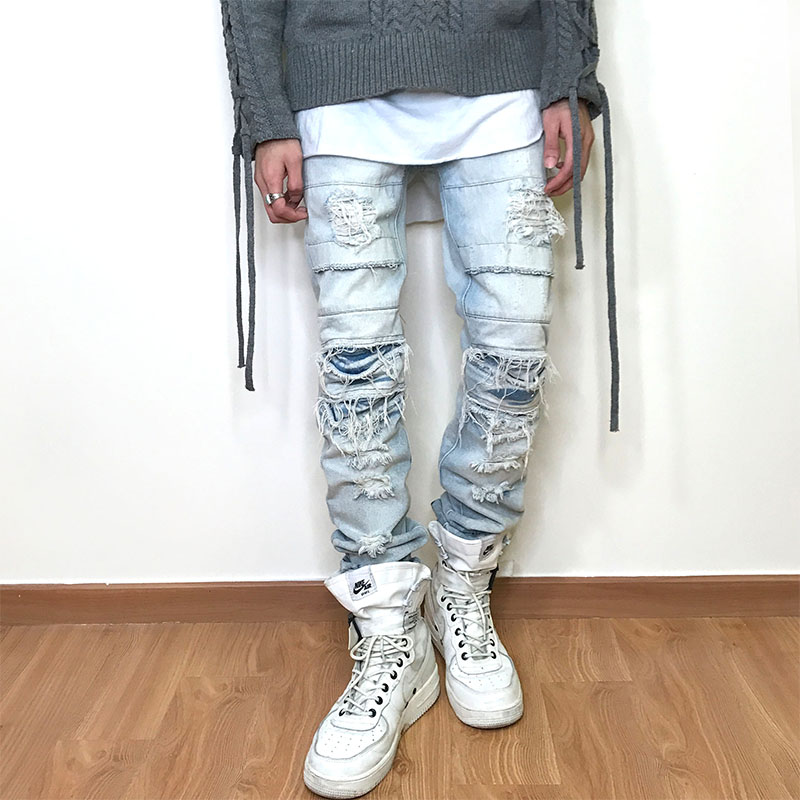 YINOS Patch Ripped Moustache Men Jeans fear of god Full-Length StreetWear Denim Straight Trousers Slim Skinny Fit Pants 2017 streetwear mens patch jeans slim fit denim jeans ripped pants high quality recommend new famous brand jeans men trousers 7044