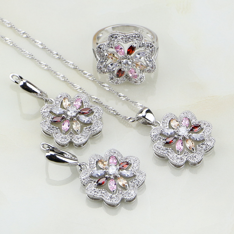 925 Silver Jewelry Flower Multi-color Stones Jewelry Sets For Women Wedding Earrings/Pendant/Necklace/Rings marulong s0002 women s fashionable flower pattern short sleeved nightdress green multi color