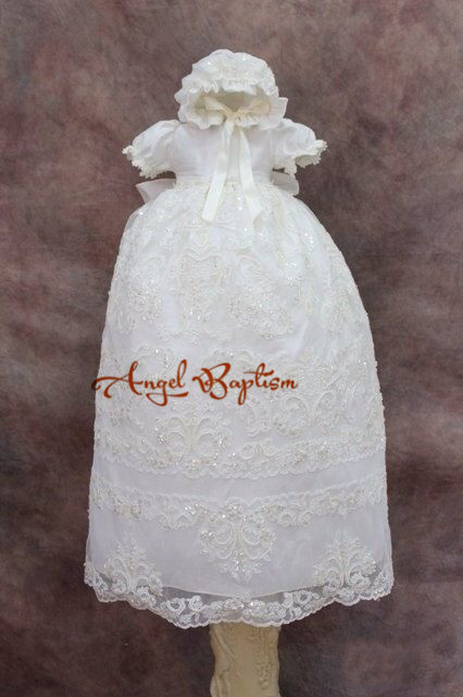 Blings Diamond Beads Lace Baby Girl White/Ivory First Communion Dresses Christening Gown Baptism Dress With Bonnet 2016 appliques lace baby girl white ivory a line first communion dresses christening gown baptism dress with bonnet and cape