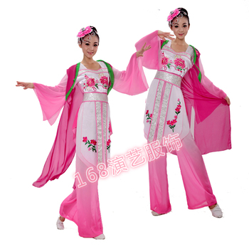 Women fan clothes younger service square dance clothes classical dance clothes Chinese traditional stage wear