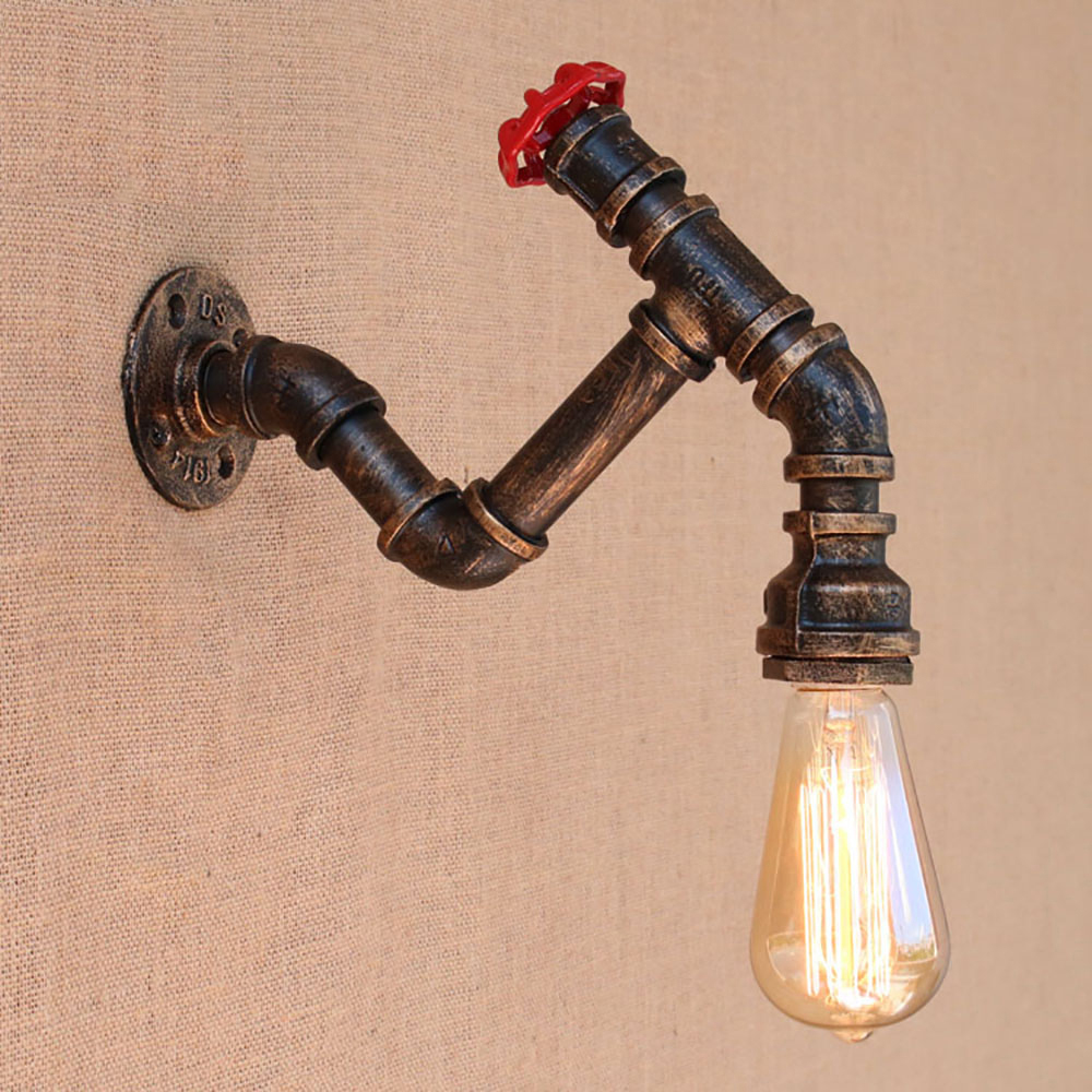 American country iron Water pipe vintage wall lamp with edison/led bulb e27 lights 110v-220v for cafe hallway bedroom study bar american vintage wall lamp for indoor outdoor lighting retro industry wall lights with edison bulb for bedroom black 220v e27
