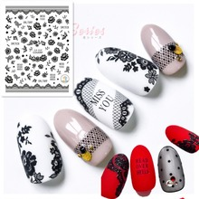 3d nail sticker Newest CA-359 black Lace design nail decals self-adhesive DIY decoration for nail art